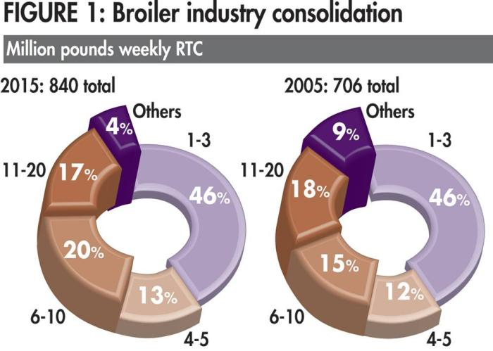 chart of US broiler industry consolidation 2005-2015