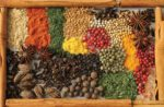 spices and herb on platter