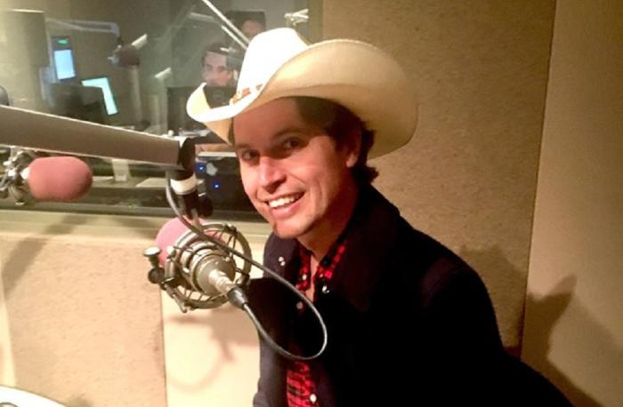 Kimbal Musk prepares to appear on a local radio program in Colorado.