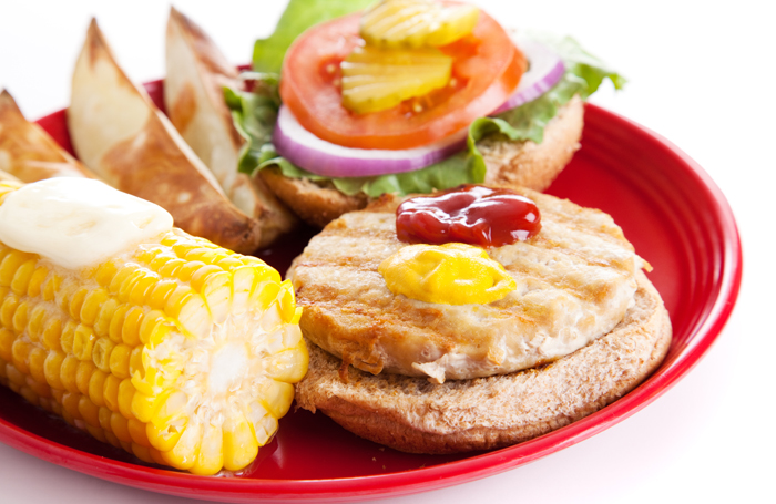 turkey-burger-healthy-plate