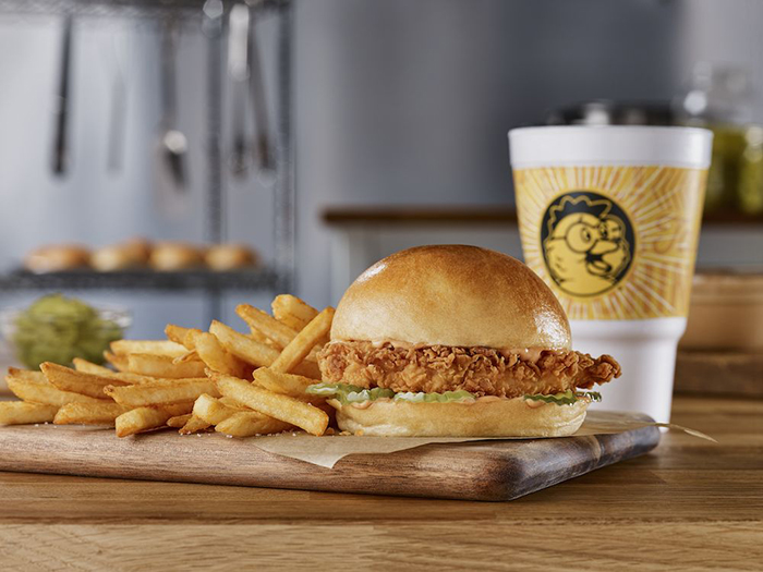 Golden chick introduces big golden chicken sandwich