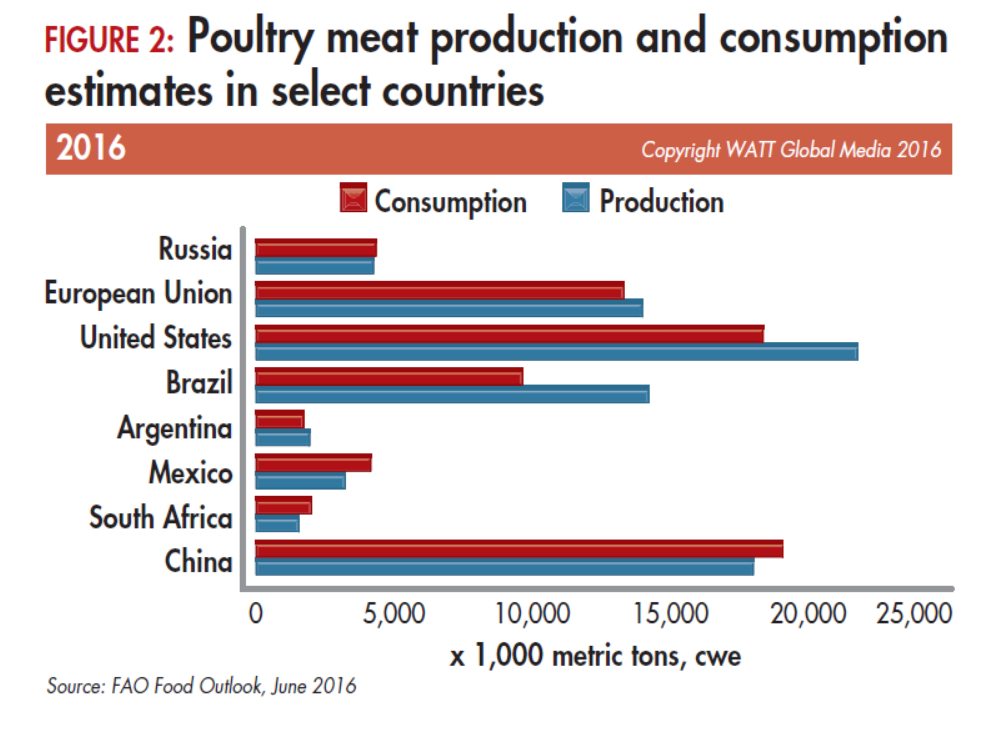 Poultry-meat-production-and-consumption-estimates-in-select-countries-2016